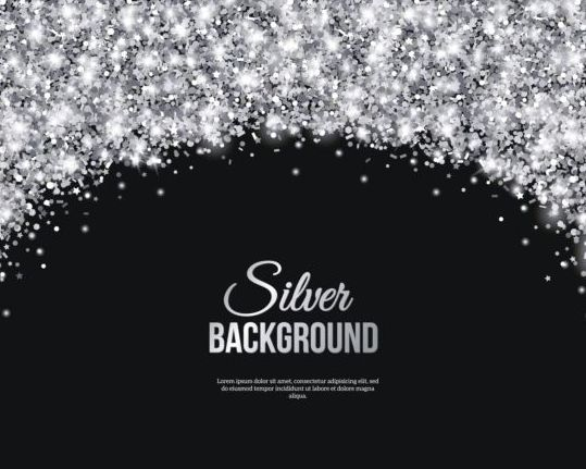 Silver confetti with black background vector 02 free download