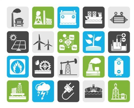 Solar energy generation icons set