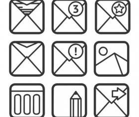 Square email icons vector