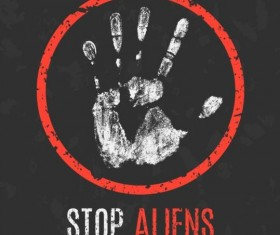 Stop aliens sign vector