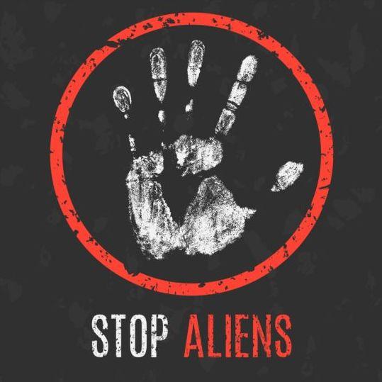 Stop aliens sign vector