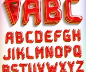Strawberry dessert alphabet vector