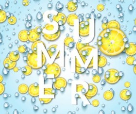Summer fizzy water background with limon slices vector 01