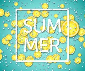 Summer fizzy water background with limon slices vector 02