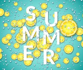 Summer fizzy water background with limon slices vector 03