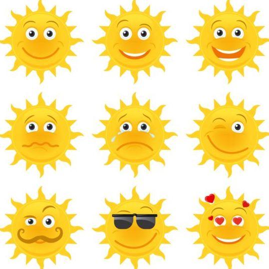 Sun smile emoji icons
