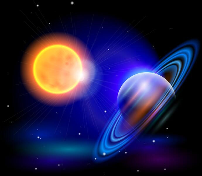 sun with saturn background vector free download