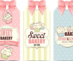 Sweet bakery card with beautiful bow vector