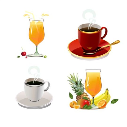 Tea and juice drank vector illustration
