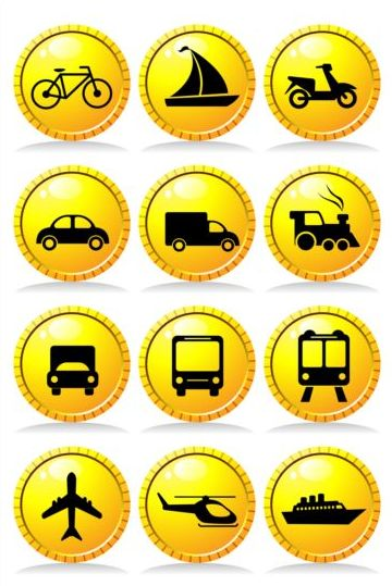 Textured red transportation icons