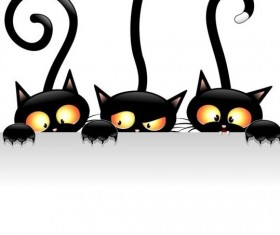 Three funny carton cat vector