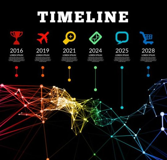 Timeline with infographics vector template 01