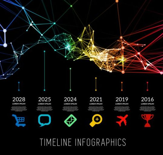 Timeline with infographics vector template 02