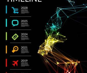Timeline with infographics vector template 04