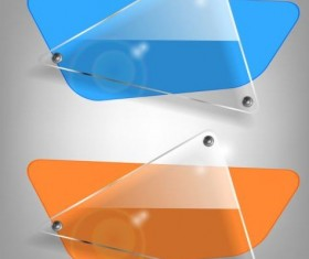 Triangle glass banner design vector 02
