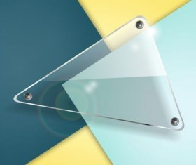 Triangle glass banner with colored background vector