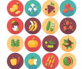 Vagetable with fruits circle shadow icons set 01