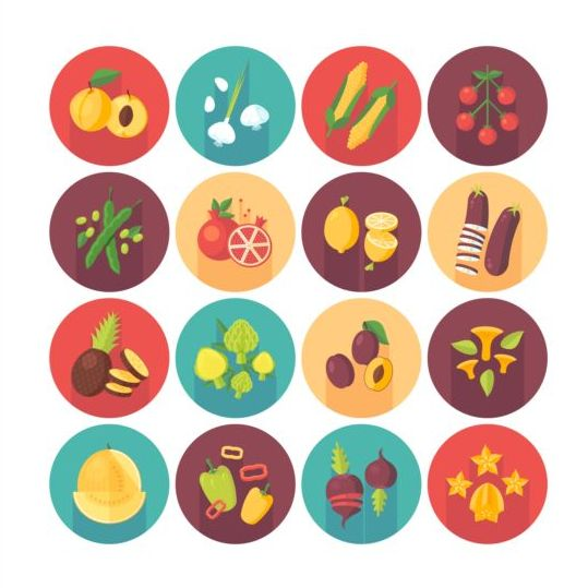 Vagetable with fruits circle shadow icons set 02