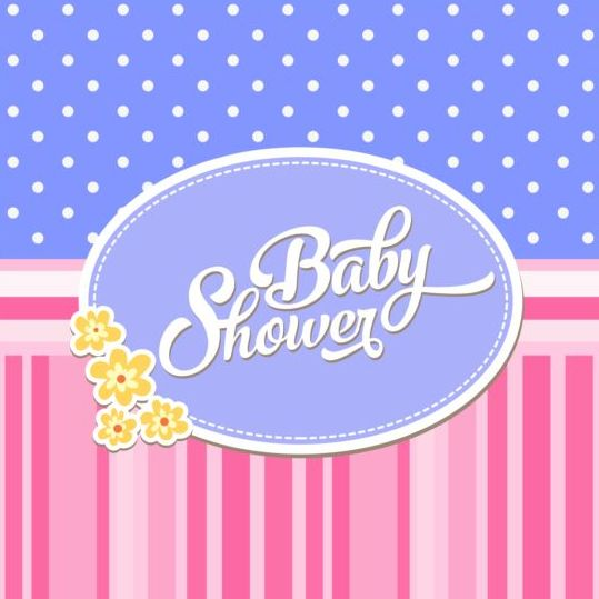 Vector Baby Shower Card Template Set 05 Free Download