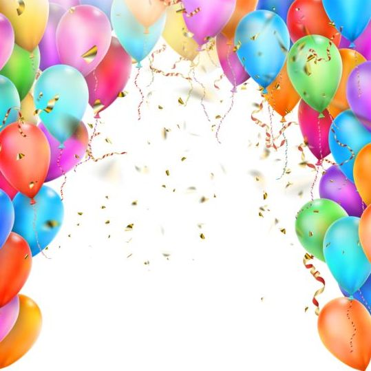 vector colorful balloons with confetti background free