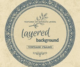 Vintage background with round frame vectors 02