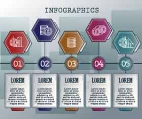 Vintage banners infographic template vectors set 05
