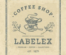 Vintage coffee shop label square vectors