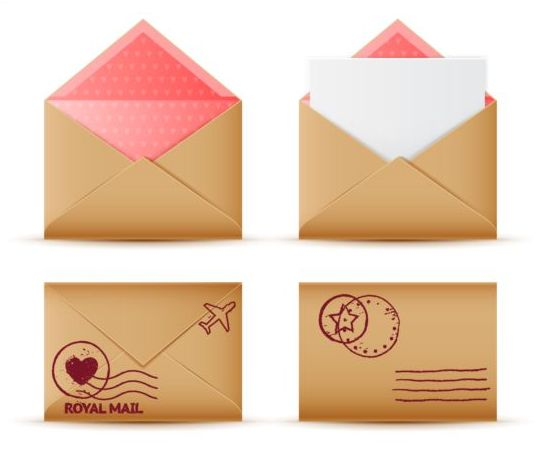 Vintage envelope set icons vector