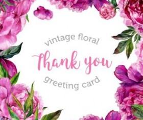Vintage floral greeting card vector material 01