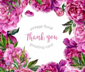 Vintage floral greeting card vector material 03