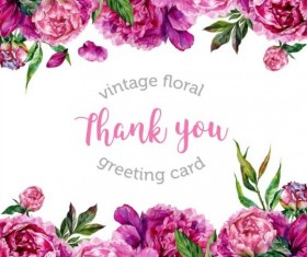 Vintage floral greeting card vector material 04