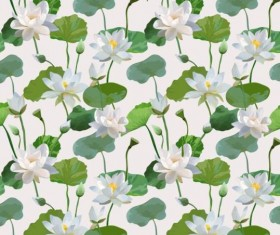 Watercolor lily pattern seamless vector 01