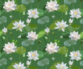 Watercolor lily pattern seamless vector 02
