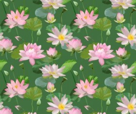 Watercolor lily pattern seamless vector 03