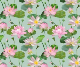 Watercolor lily pattern seamless vector 04