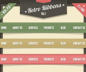 Web Ribbons Vintage Psd Material