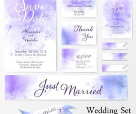 Wedding card watercolor vector set