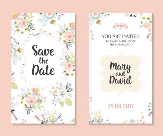 Wedding invitation card template with floral vectors 01 Vector – Marriage Invitation Card Templates Free Download