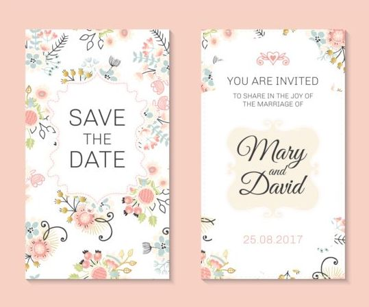 Wedding invitation card template with floral vectors 03 Vector – Marriage Invitation Card Templates Free Download