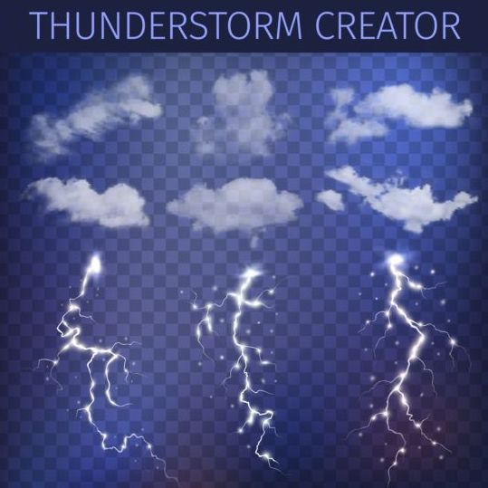 White clouds and flashes lightning vector material 02