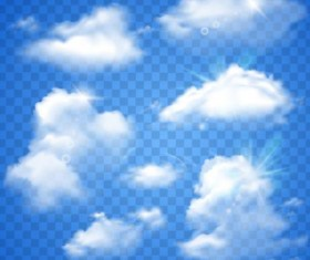 White clouds illustration vector set 01