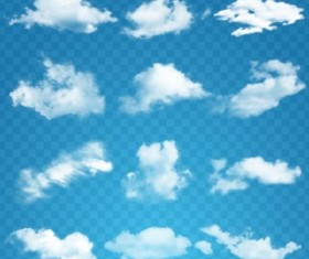 White clouds illustration vector set 02