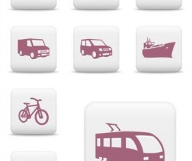 White square transportation icons set
