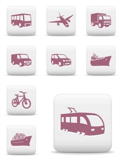 White square transportation icons set