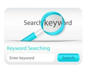 White with blue keyword searching interface vector