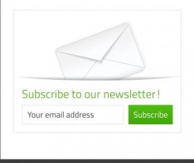 White with green subscribe newsletter vector material