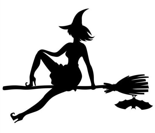 Witch fly silhouette vector set 02