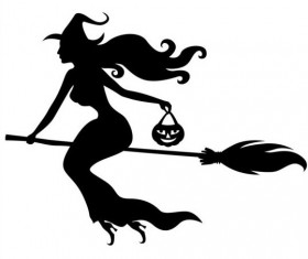 Witch fly silhouette vector set 03