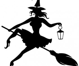 Witch fly silhouette vector set 04