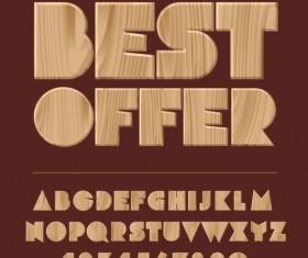 Wooden textures alphabet vector